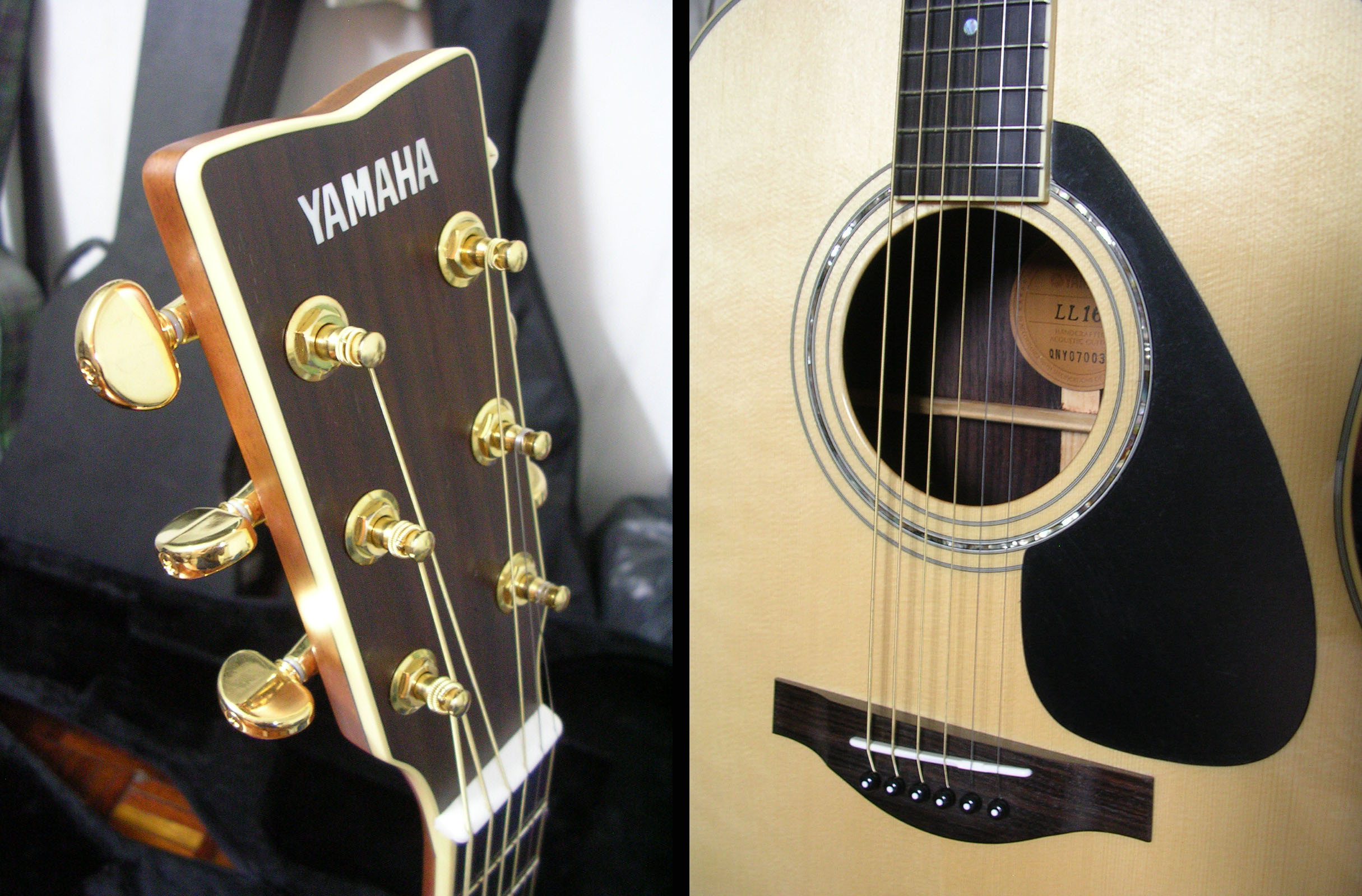 yamaha ll16. yamaha straight boxy butts at the end have been rounded off for l series. this guitar is noticeably a little heavier when compared to my old f340. ll16